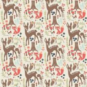 Riley Blake Woodland Spring - 4388 - Deer Owls Foxes on Soft White - C4990 Cream - Cotton Fabric